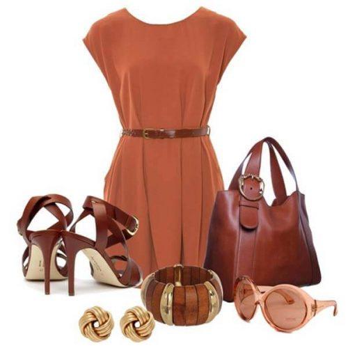 Платье терракотового цвета и аксессуары к ним