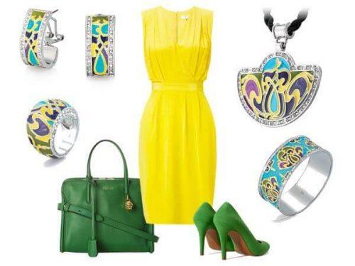 Платье лимонно-желтого цвета и аксессуары к нему
