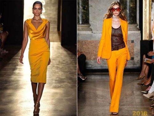 Платья и костюмы желтого цвета