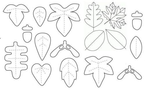 Листья из фетра на новогодний венок шаблон