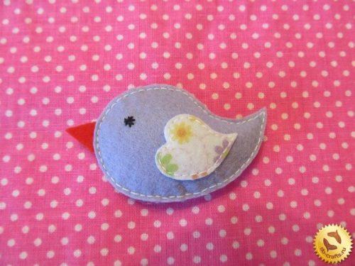 Сиреневая птичка из фетра