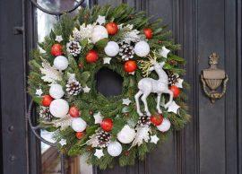 Новогодние веночки на дверь из веток, лозы, елочных шаров и других материалов своими руками. Мастер-классы, пошаговые фото